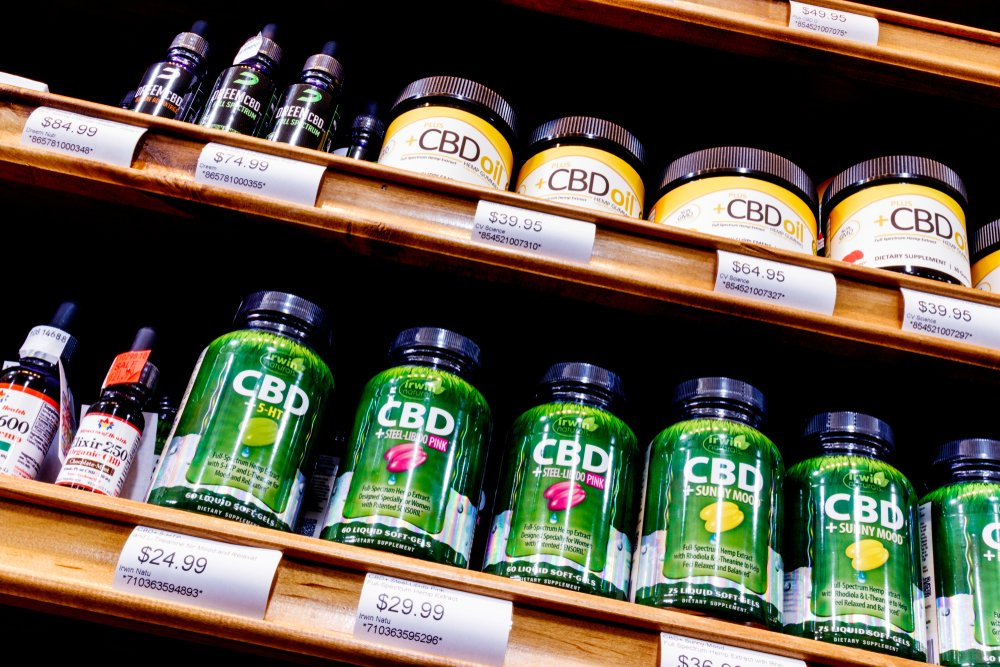cbd products stocked on a store shelf