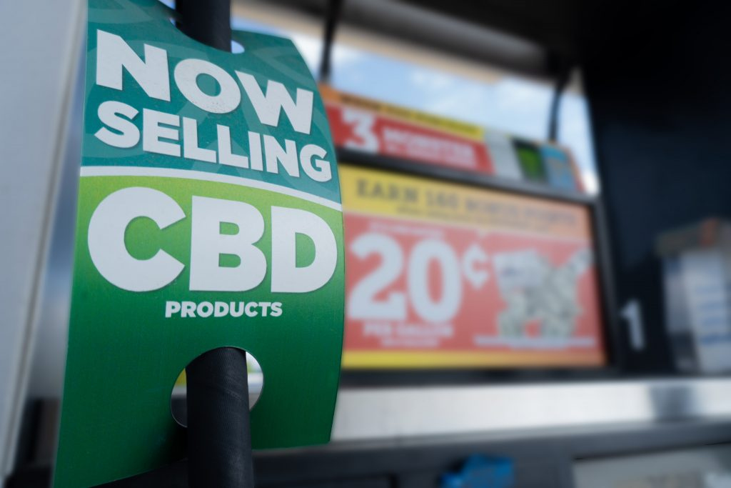 Promotional sign at a store for cbd products
