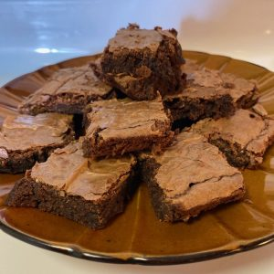 delta 8 infused brownies homemade on a plate