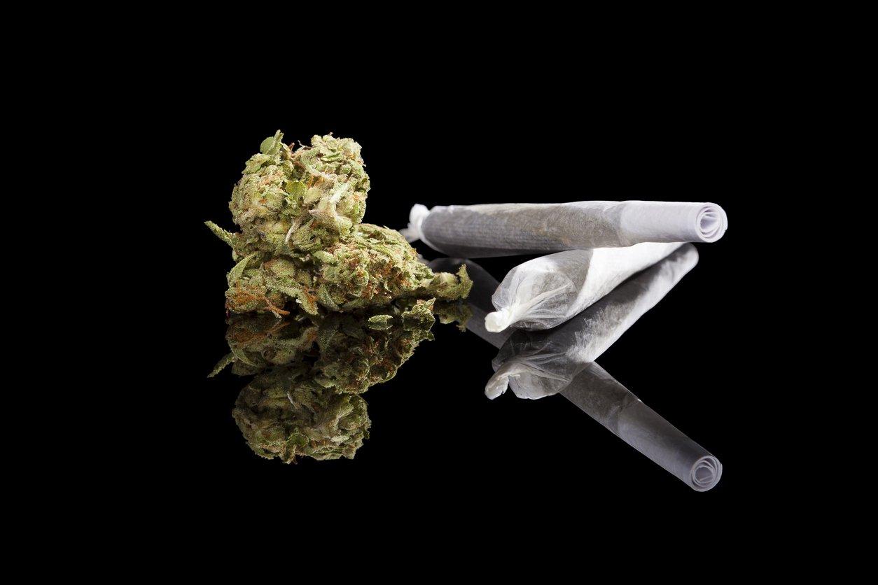 Marijuana background. Cannabis cigarette joint, bud and hemp leaves isolated on black background. Addictive drug or alternative medicine.